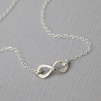 Sterling Silver Infinity Necklace, Sterling Silver Hammered Infinity Pendant on Sterling Silver Necklace Chain