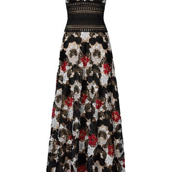 NAEEM KHAN Multi Floral Lace Gown