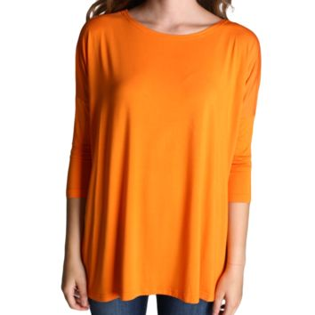 Orange Piko 3/4 Sleeve Top