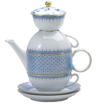 Mottahedeh Cornflower Lace Tea for Two