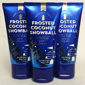 3 PACK Bath & Body Works FROSTED COCONUT SNOWBALL Body Cream Travel Size 3 oz