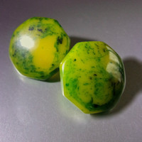 Green Yellow Bakelite Earrings, Marbled Swirl, Octagonal, Vintage