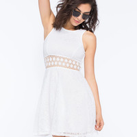 Full Tilt Lace Racerback Dress White  In Sizes