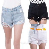 Women New Summer Fashion High Waist Sexy Denim Shorts Hole Ripped Jeans Shorts 7_S SV015846