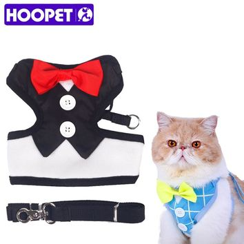 HOOPET Pets Evening Dress Harnesses And Leashes Red Bow Tie Dog From Smoking Harness With Leash Comfortable Puppy Applicable