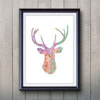 Antler, Stag, Deer Print - Minimalist Art - Silhouette Poster Art - Wall Decor, Home Decor, House Warming Gifts