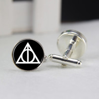 Deathly Hallow Cufflinks, Pairs Silver Harry Potter Cuff link, Movie Fan ,HP Fan Gifts, Round Resin Cuff for Men