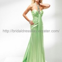 Sexy Beaded Halter Green Prom Dress