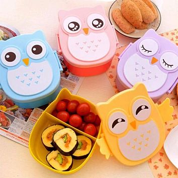 Healthy Diet, Healthy Life, Portable Cartoon Owl Lunch/Bento Box