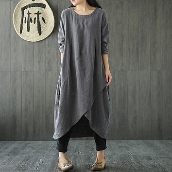 Plus Size CELMIA Women Spring Crew Neck Long Sleeve Asymmetric Split Kaftan Solid Cotton Linen Mid Calf Dress Tunic Vestido