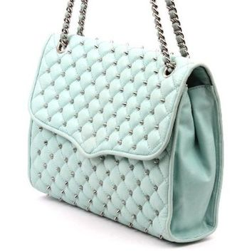 NWT Rebecca Minkoff Spikey Studded Large Affair Leather Quilted Mint Green Purse Shoulder Bag