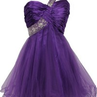 Beaded One-Shoulder Mesh Party Short Prom Homecoming Dress, Medium, Purple