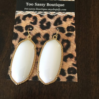 White Designer Inspired Earrings