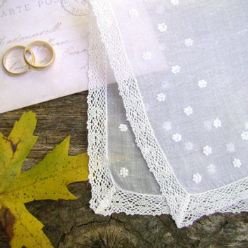 Vintage Wedding Handkerchief, White Something Old, Bride's Hankie, Bridal Shower Gift