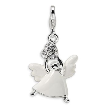925 Sterling Silver Enameled Swarovski Element Angel with Lobster Clasp Charm