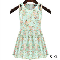 S-XL Fresh Green Summer Sleeveless Dress SP152444