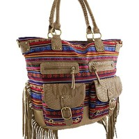 Bohemian Fringe Tote Purse w/ Front Pockets (Taupe)