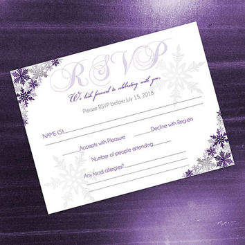 DIY Printable Wedding RSVP Template | Editable MS Word file | 5.5 x 4.25 | Instant Download | Winter Dark Purple Silver Snowflakes