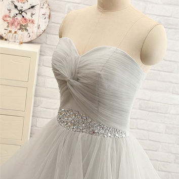 Pleated Sweetheart with Beadings Hi-lo Evening Dress Prom Gown Women's Party Dress