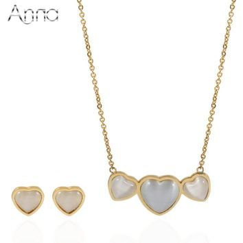 A&N Golden Triple Heart Stainless Steel Jewelry Sets For Women Gray Cat Eye Material High Quality Necklace Earring Jewellery Set