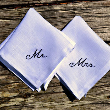 His and Hers Wedding Handkerchiefs, Wedding Day Monogrammed Hankerchiefs, Bride and Groom Hankies, Pocket Square and Handkerchief New Couple