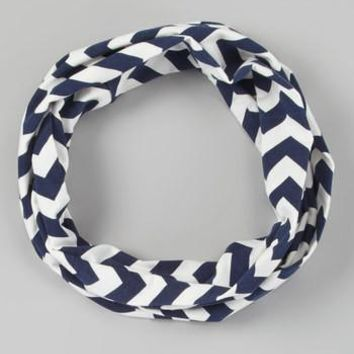 Navy Chevron Toddler Infinity Scarf