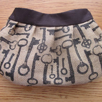 Burlap Buttercup Clutch, Purse , chevron, burlap bag, burlap purse, steampunk, skeleton keys