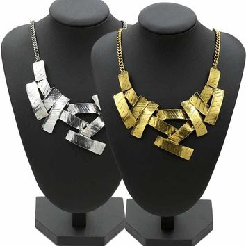 LNRRABC Statement Women Collar Chain Vintage  Irregular Geometric Metallic Chunky Bib Necklace Pedant