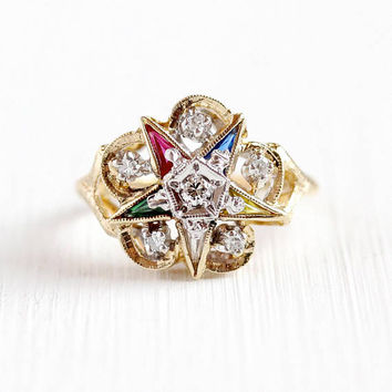 Vintage Star Ring - 10k Yellow Gold Order of the Eastern Star Diamond Ring - Retro Size 6 Masonic OES Created Colorful Gems Fine Jewelry
