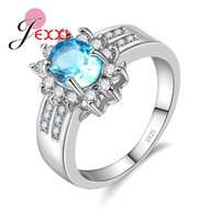 JEXXI Fashion Oval Cubic Zirconia Anniversary Finger Ring 925 Sterling for Women Wedding Engagement Jewelry Gift