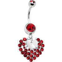 Ruby Red Cubic Zirconia Faceted Heart Belly Ring | Body Candy Body Jewelry