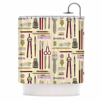 "Judith Loske ""Art Supplies"" Tan Pattern Shower Curtain"