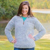 Heathered Quarter Zip Sherpa Pullover in Quarry Grey by The Southern Shirt Co. - FINAL SALE