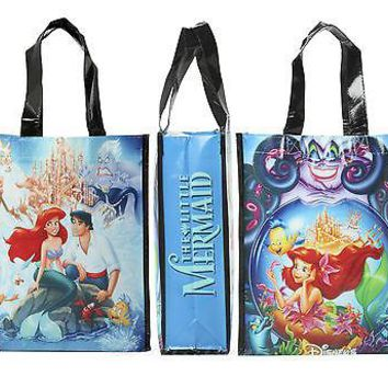 Licensed cool Disney LITTLE MERMAID Movie Poster Small Shopper Tote Reusable Grocery Bag ARIEL