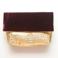 CLASSIC 3 / Leather & Velvet simple folded clutch - OOAK - Ready to Ship