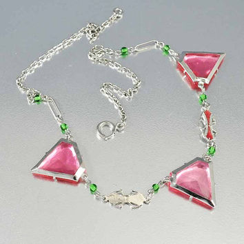 Vintage Czech Art Deco Necklace Rhodium Silver Enamel Pink Geometric Czech Glass Vintage 1920s Art Deco Jewelry