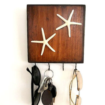 Wall Key Hooks, Rustic hooks wood wall rack Starfish Beach House Coastal Decor Entryway Key Holder Jewelry Belt Hanger Organizer Towel hook