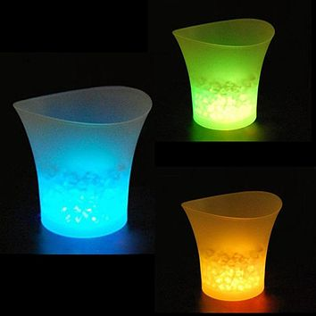 5L Waterproof Plastic LED Ice Bucket Color Bars Nightclubs LED Light Up Champagne Beer Bucket Bars Night Party