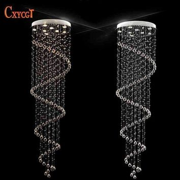 D60CM Modern led Spiral Crystal Ceiling Light Fixtures Long Stair Light for Staircase Hotel Foyer Decoration