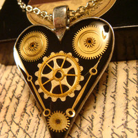Clockwork Heart Steampunk Necklace-  Made with Upcycled  Gears and Watch Hands (1780)