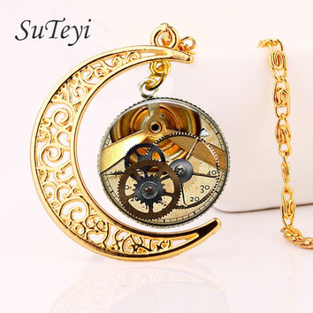 SUTEYI fashion punk style witchcraft gold moon Accessories retro steampunk glass necklace personality  jewelry pendant necklace