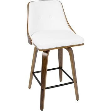 "Gianna 26"" Mid-Century Modern Counter Stool, Walnut & White PU Leather"