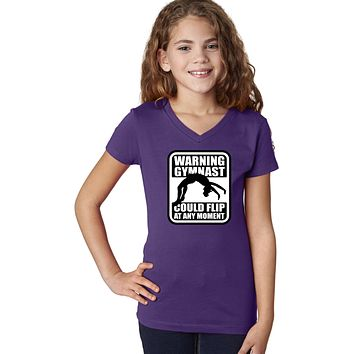 Girls Gymnastics T-shirt Warning Gymnast V-Neck