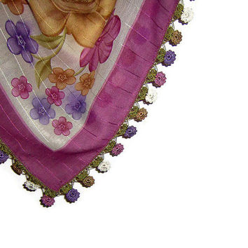 Traditional Turkish Yemeni Rayon (artificial silk) Scarf With Crocheted Lace, Violet Red / Purple / White / Light Brown Floral Pattern
