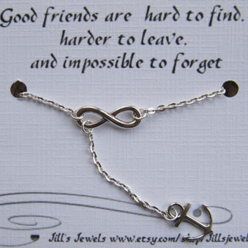 Infinity and Anchor Charm Necklace and Quote Inspirational Card- Bridesmaids Gift - Friendship Necklace - Friends Forever - Quote Gift