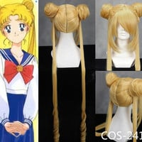Custom Made High Quality Yellow Long Sailor Moon Cosplay Wig