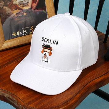 2016 Custom Baseball Cap Embroidery Your Logo Small MOQ Korean Dog Embroidered Baseball Cap Hats for Women Men adjustable
