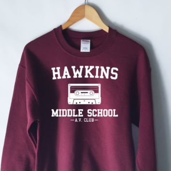 Hawkins Middle School Sweatshirt in Maroon