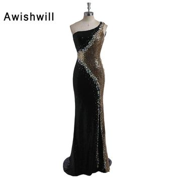 Sexy One Shoulder Sequin Long Mermaid Prom Dresses with Rhinestones Evening Party Gown Real Photo Vestido de Formatura Longo