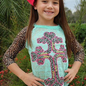 Kids Hot Pink and Leopard Inspirational Cross on Mint Baseball Burnout Tee